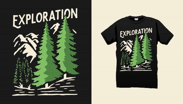 Design della maglietta da campeggio in montagna