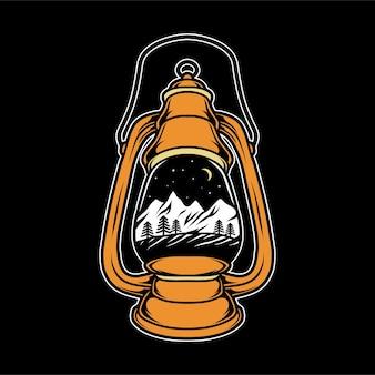 Campeggio in montagna in lanterna vintage