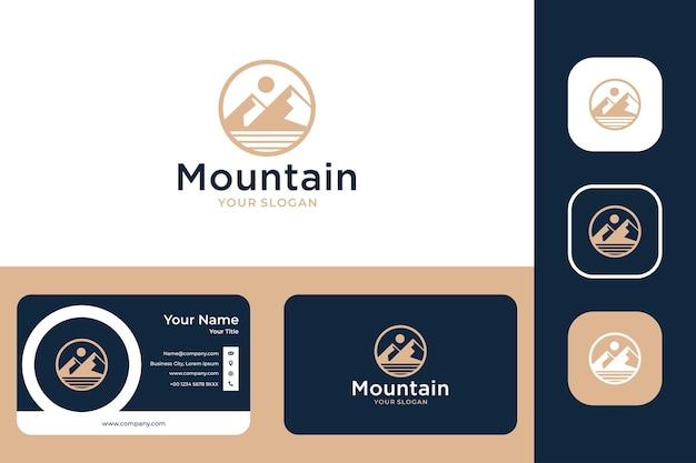 Design elegante del logo e biglietto da visita del cerchio di montagna