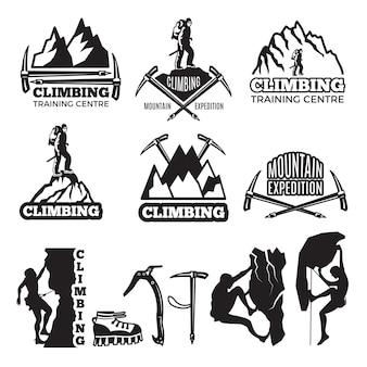 Alpinismo e attrezzature diverse. modello di etichette con posto per il testo. arrampicata sagoma distintivo estremo, illustrazione di arrampicata di esplorazione del logo