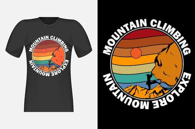 Disegno di t-shirt retrò vintage stile disegnato a mano di alpinismo
