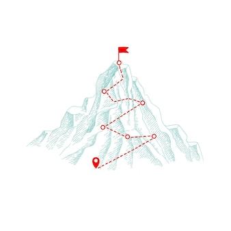 Itinerario alpinistico. percorso del concetto di business all'aperto per l'illustrazione della progressione della collina superiore.