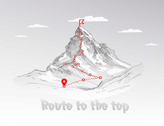 Percorso di arrampicata in montagna fino al picco. percorso di viaggio d'affari in corso al concetto di successo.