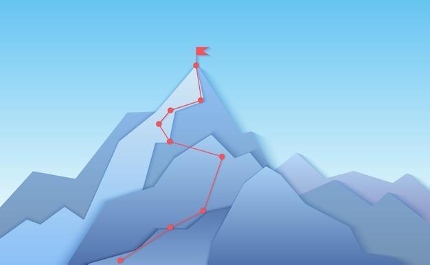 Itinerario di arrampicata in montagna al paesaggio di punta