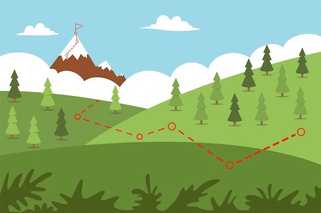 Percorso di alpinismo con percorso verso l'alto e bandiera. illustrazione piana del fumetto di vettore di un paesaggio.