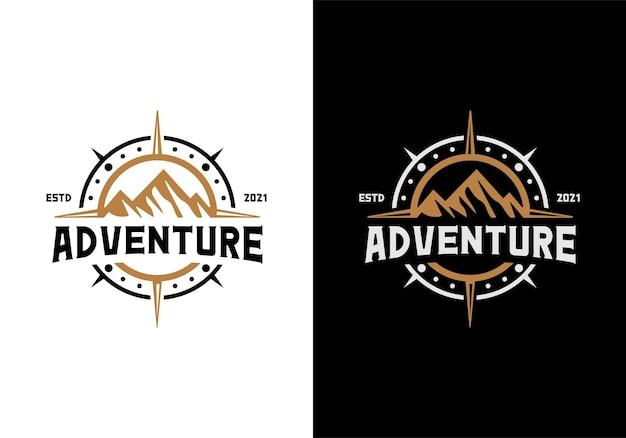 Montagna e bussola. ispirazione per il modello di progettazione del logo all'aperto, avventura, viaggio