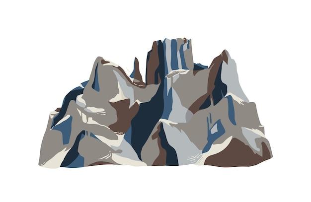Montagna o falesia isolata su bianco