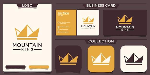 Design del logo della corona di montagna. vettore di logo di produzione di picco del re.