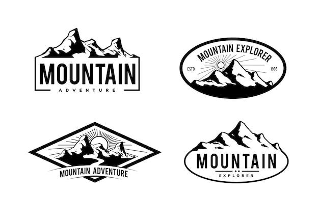 Design di montagna per badge, logo, emblema e altro