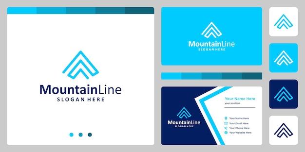 Logo di design di montagna con linee collegate. disegno del modello di biglietto da visita