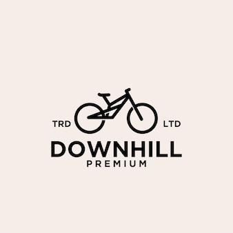 Illustrazione dell'icona del logo vintage bici da discesa in montagna