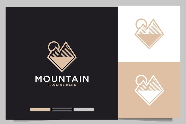 Design elegante del logo di montagna
