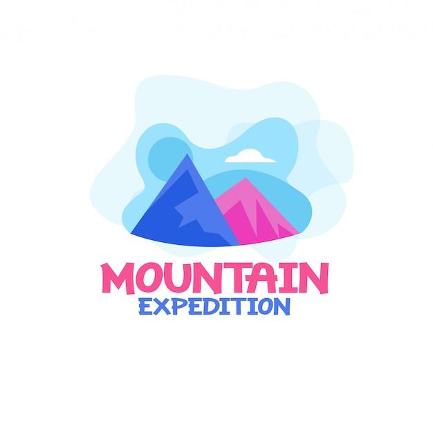 Vettore di logo di spedizione di montagna Vettore Premium