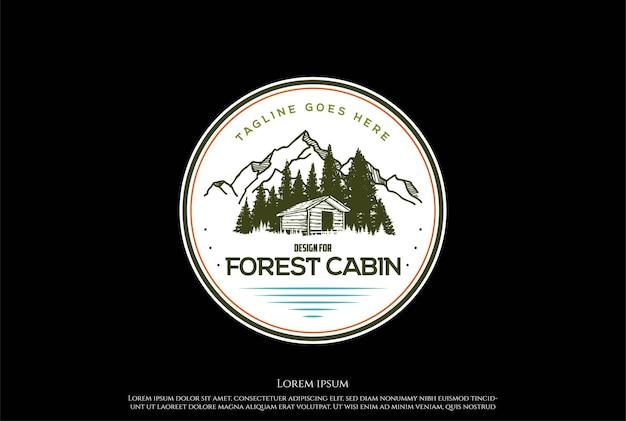 Mountain forest cabin cottage fienile chalet logo design vector