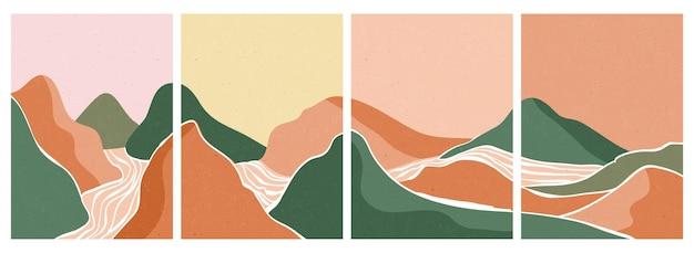 Montagna, foresta, collina, onda, sole e luna sul grande set. stampa d'arte minimalista moderna di metà secolo. paesaggio estetico contemporaneo astratto.