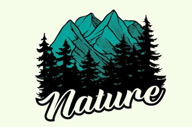Illustrazione di montagne e foreste per il design di magliette e poster o per qualsiasi scopo
