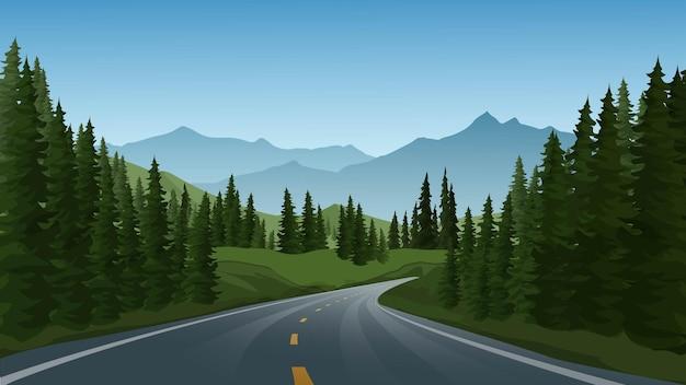 Foresta di montagna con illustrazione di strada vuota