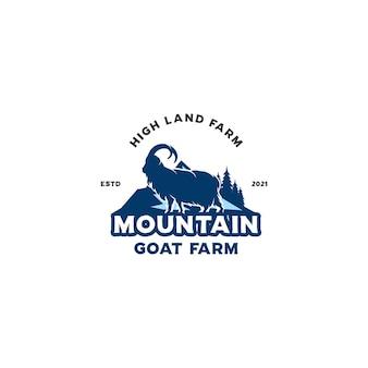 Logo dell'allevamento di capre di montagna Vettore Premium