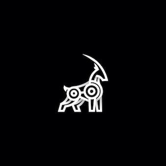 Illustrazione di progettazione di logo di capra di montagna
