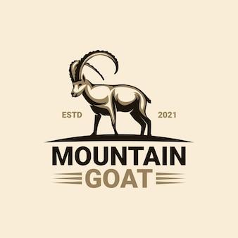 Modello di logo di capra di montagna premium Vettore Premium