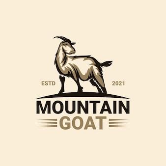 Modello di logo di capra di montagna