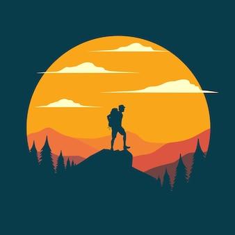 Illustrazione piana dell'escursionista di montagna