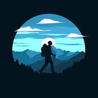Escursionista di montagna piatto