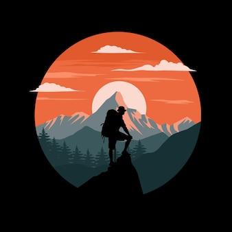 Illustrazione piana degli escursionisti di montagna