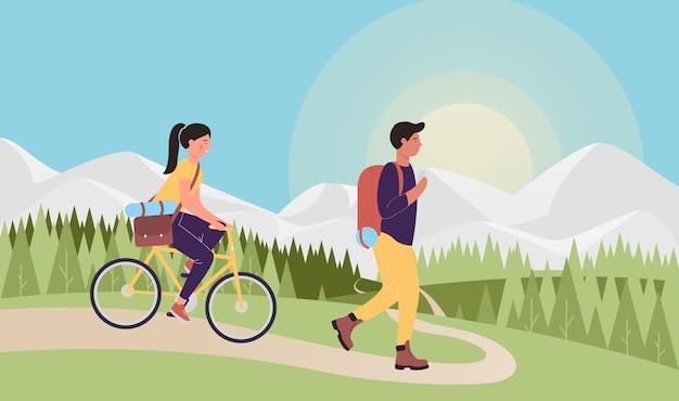 Escursionismo in montagna viaggiatore turistico persone che viaggiano insieme
