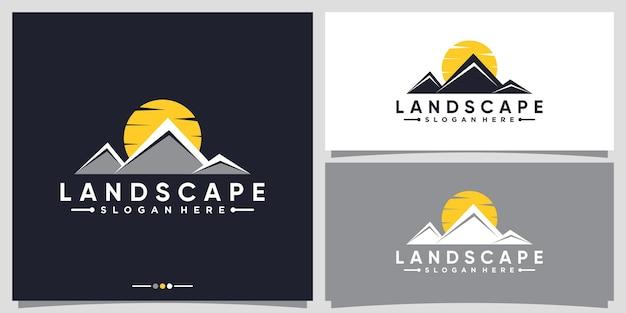 Collina di montagna con modello di progettazione del logo di vista del paesaggio dell'alba al tramonto vettore premium