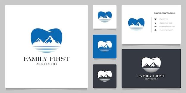 Illustrazioni del modello di progettazione del logo dentale delle colline di montagna