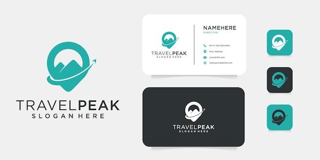 Icona di progettazione di logo di casa di montagna con modello di biglietto da visita. il logo può essere utilizzato per viaggi, escursioni, vacanze e icona della società di affari