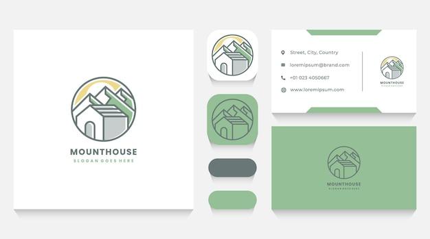 Modello e biglietto da visita del logo della casa di montagna e del paesaggio