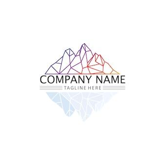 Icona di montagna logo e modello di iceberg illustrazione vettoriale design
