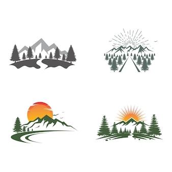 Icona di montagna logo modello illustrazione vettoriale design