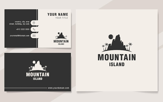 Modello di logo dell'isola di montagna in stile monogramma