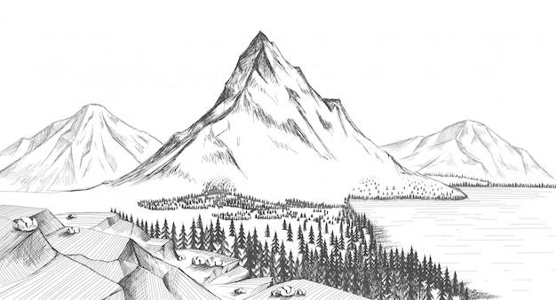 Illustrazione della roccia dei pini della foresta del lago mountain.