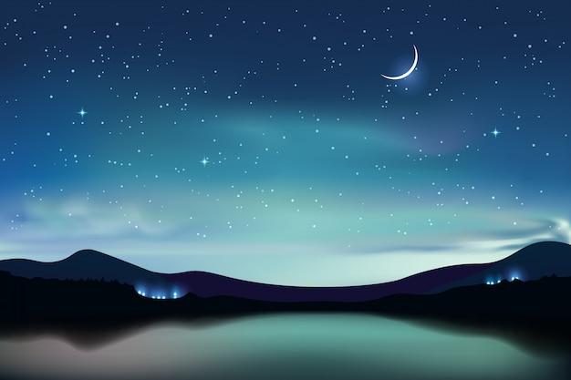 Lago mountain con il cielo stellato del turchese scuro e una luna crescente, fondo realistico del cielo notturno, illustrazione.