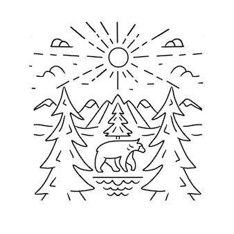 Paesaggio di montagna linea arte arte semplice foresta monte orso e illustrazione vettoriale sole