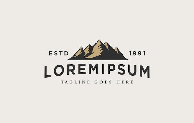 Modello di progettazione del logo del paesaggio di montagna