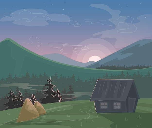 Paesaggio di montagna. paesaggio naturale mattutino o serale, pagliaio della casa di paese, orizzonte montuoso