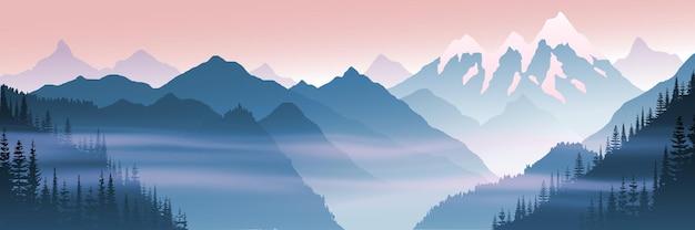 Paesaggio di montagna, vista mattutina, nebbia nella gola, illustrazione vettoriale, banner
