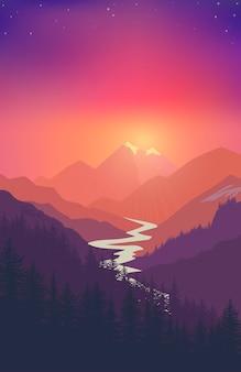 Paesaggio di montagna, avventura itinerante nella natura, fiume della valle, campeggio all'aperto, illustrazione della foresta rocciosa estiva, turismo estivo. vettore