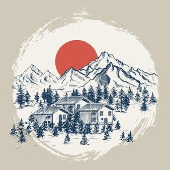 Illustrazione di stile di schizzo di paesaggio di montagna