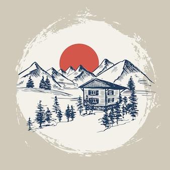 Stile di schizzo del paesaggio di montagna