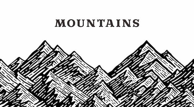 Paesaggio di montagna in ripetizione vintage illustrazione
