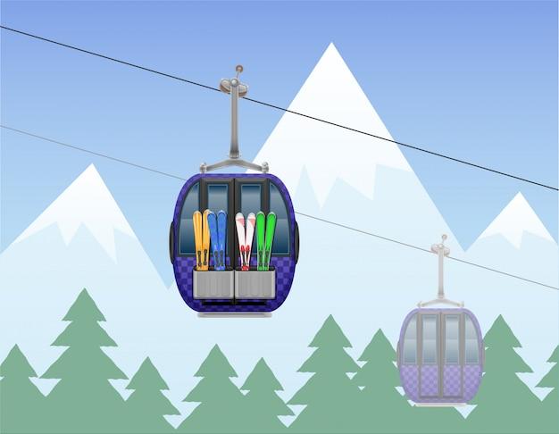 Paesaggio della montagna con l'illustrazione di vettore della teleferica dello sci della cabina