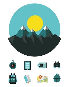 Paesaggio montano con icone di attrezzature per il campeggio e le escursioni.