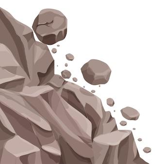 Frana di montagna con pietre che cadono in stile cartone animato piatto