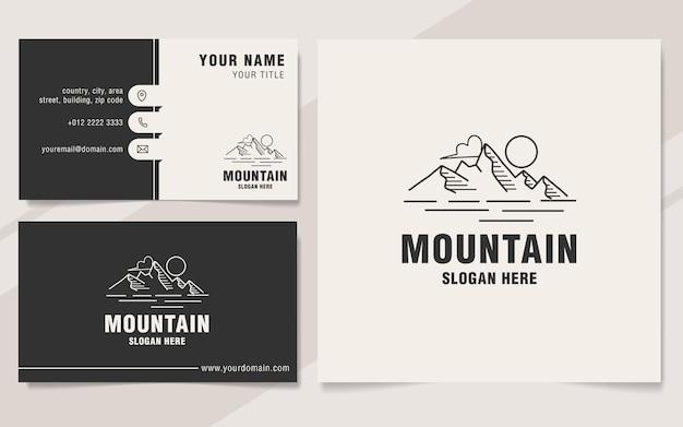 Stile monogramma del modello di logo della linea di montagna